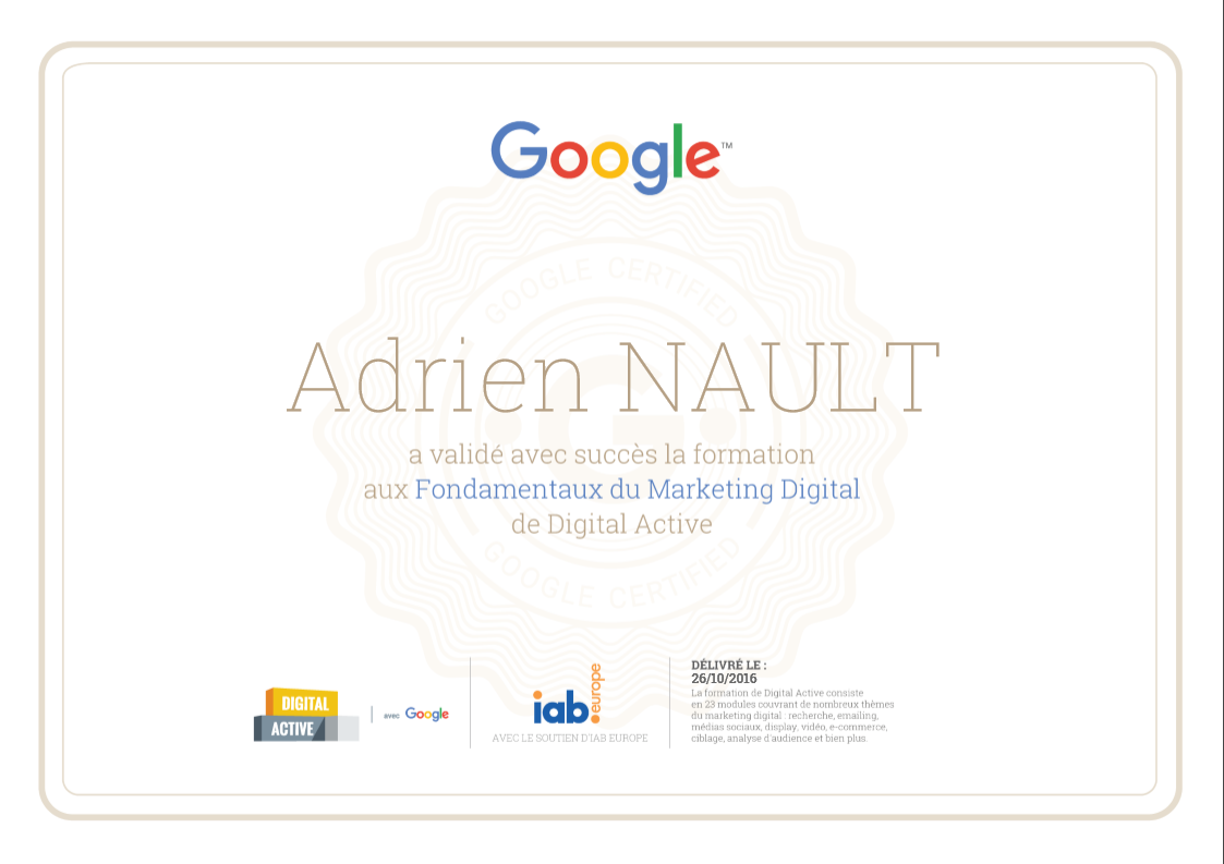 Certificat Google Digital Active